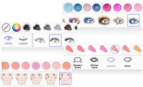 More than 20 makeup tools give you infinite design possibilities. A fun and simple way to have creative, full control.Customize and save your favorite looks.